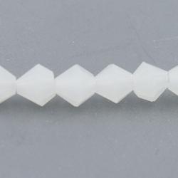 Facet kraal bicone wit 4mm (streng)