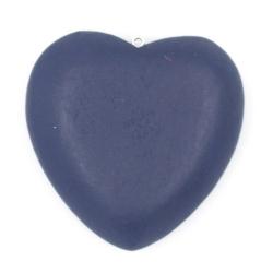 Houten hanger hart donkerblauw 40mm (3 st.)