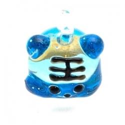 Hanger, handgemaakt, glas, hamster, blauw, 20 mm (1 st.)