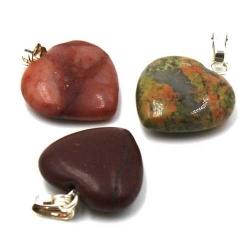 Halfedelsteen hanger hart ca. 18mm (3 st.)
