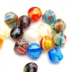 Glaskraal, tolletje, millifiori, mix, 9 mm (10 st)