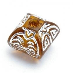 Kunststof kraal hoekig zilver/bruin 12 mm (10 st.)