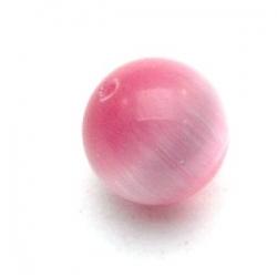 Catseye kraal rond roze 12 mm (5 st.)