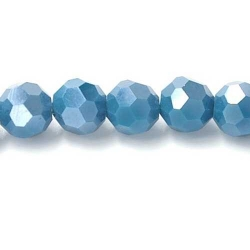 Facet kraal rond blauw AB 6mm (10 st.)