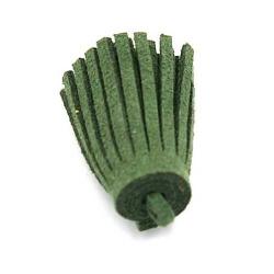 Kwastje suede legergroen 3cm (3 st.)