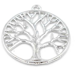 Metaal hanger levensboom zilver 37mm (1 st.)