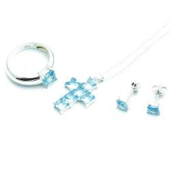 Ketting, oorbellen en ring (maat 21), kruis, lichtblauw (1 set)