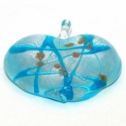 Hanger, hart (groot), lichtblauw met zilverfolie, 45 mm (1 st.)