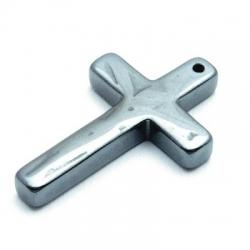Halfedelsteen hanger Hematiet kruis 32 x 21 mm (2 st.)