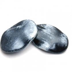 Kunststof kraal ovaal hoekig grijs/wit 30 x 20 mm (5 st.)