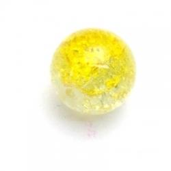 Crackle kraal, rond, duo-tone, geel, 14 mm (10 st.)