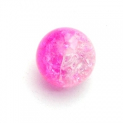 Crackle kraal, rond, roze, 14 mm (10 st.)