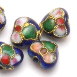 Cloisonne kraal, hartje, blauw, 10 mm (5 st.)