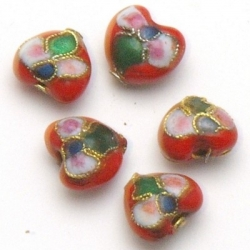Cloisonne kraal, hartje, rood, 10 mm (5 st.)
