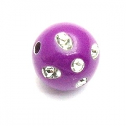 Kunststof kraal rond paars glittersteen 12 mm (20 st.)