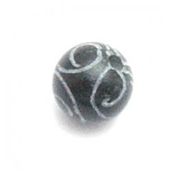 Halfedelsteen kraal, Jade, rond, gecarved, zwart, 12 mm (5 st.)