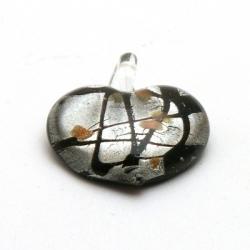 Hanger, hart (klein), zwart met zilverfolie, 25 x 35 mm (1 st.)