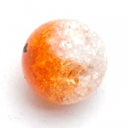 Crackle kraal, rond, oranje, 14 mm (10 st.)