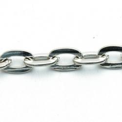 Jasseron ketting, zilver, ovaal, plat, 12 mm 1 mtr.)