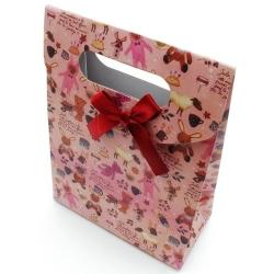 Cadeautasje, roze, beertjes, klein, strik, 37-3 (1 st.)