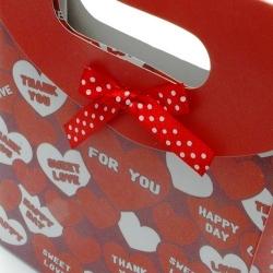 Cadeautasje, rood, hartjes, klein, strik, 45-3 (1 st.)