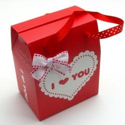 Cadeautasje, rood/wit, hart, dik, hengsels, ZH06-04 (1 st.)