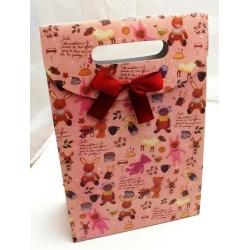 Cadeautasje, roze, beertjes, strikje, groot, 73-2 (1 st.)
