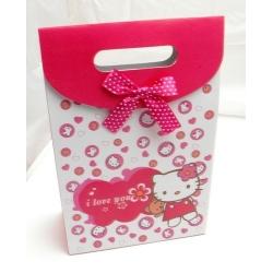 Cadeautasje, roze, Hello Kitty, strikje, groot, 38-2 (1 st.)