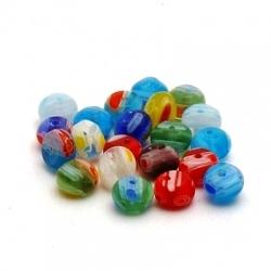 Glaskraal, rond, millifiori (plat), div. kleuren, 4 mm (20 st.)