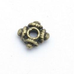 Metaal, spacer, vierkant, antique goud, 7 mm (20 st.)