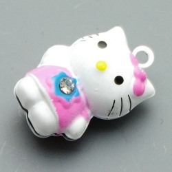 Metaal, belletje, Hello Kitty, roze, 28 mm (1 st.)