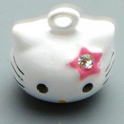 Metaal, belletje, Hello Kitty, gezichtje, roze, 20 mm (1 st.)
