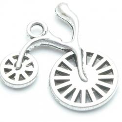 Metaal bedel, fiets, zilver, 27 mm (3 st.)