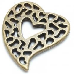 Metallook, hanger, brons, hart, 65mm (1 st.)