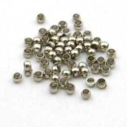 Knijpkralen, antique zilverkleurig, 2 mm (10 gr.)