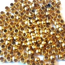 Knijpkralen, goudkleurig, 3 mm (10 gr.)