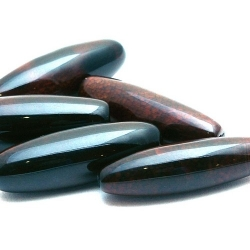 Agaat, kraal, ovaal, zwart/bruin, 40 mm (3 st.)
