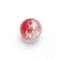 Crackle kraal, rond, rood, 12 mm (15 st.)
