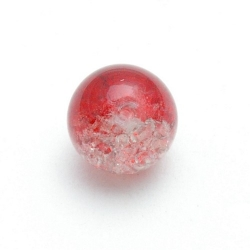 Crackle kraal, rond, rood, 14 mm (10 st.)