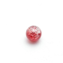 Crackle kraal, rond, rood, 8 mm (streng)