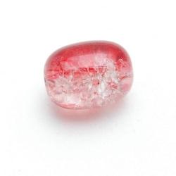 Crackle kraal, ovaal, rood, 16 x 12 mm (10 st.)