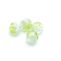 Crackle kraal, rond, groen, 6 mm (30 st.)