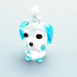 Hanger, handgemaakt, glas, hondje, lichtblauw, 20 mm (1 st.)