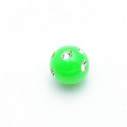 Kunststof kraal rond groen glittersteen 12 mm (20 st.)