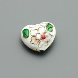 Cloissone kraal, hart, wit, 20 mm (1 st.)