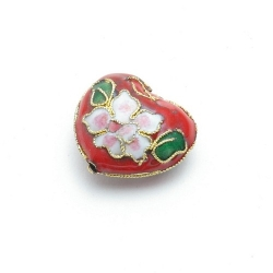 Cloissone kraal, hart, rood, 20 mm (1 st.)