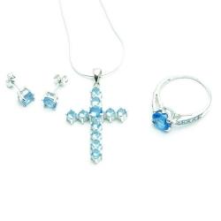 Ketting, oorbellen en armband, sterling zilver met lichtblauwe zirkonia (1 st.)