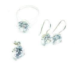 Hanger, oorbellen en ring (19) zilver met Swarovski (1 set)