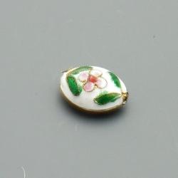 Cloissone kraal, ovaal, wit, 20 mm (3 st.)