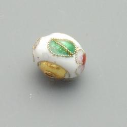 Cloissone kraal, donut, wit, 10 x 12 mm (3 st.)
